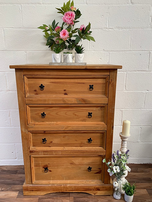 Large tall Mexican pine chest of drawers
