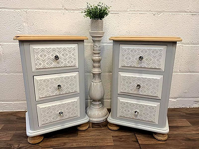 Custom painted bedside cabinets