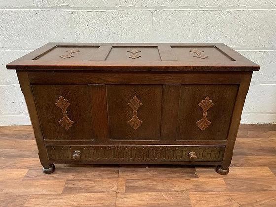 Custom/bespoke painted to order vintage carved blanket/toy/storage box & drawer