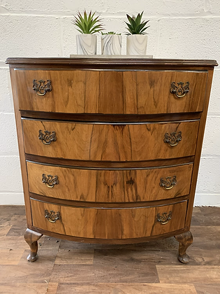 Custom painted to order, colour of your choice bow front chest of drawers