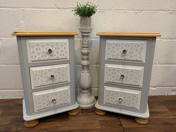 Pair of painted and stencilled bedside cabinets/tables/drawers grey & white