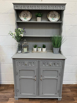 Small vintage welsh dresser hand painted in Fusion Little Lamb mineral paint