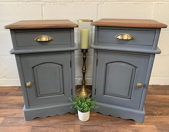 Pair of vintage bedside cabinets painted in Fusion mineral paint soapstone grey