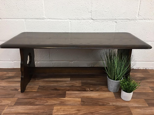 VINTAGE DARK WOOD REFECTORY STYLE COFFEE/SIDE/END/OCCASIONAL TABLE