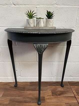 Vintage demi-lune hall/console/lamp table  in black Ash & metallic antique gold