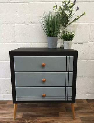 Unique one off hand painted retro vintage chest of drawers/bedside cabinet black