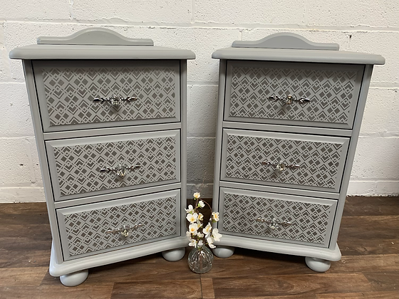 Lovely set of painted and stencilled solid pine bedside cabinets/tables/drawers