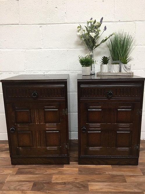 SET OF TWO VINTAGE PRIORY STYLE LARGE BEDSIDE CABINETS/TABLES/SIDEBOARDS
