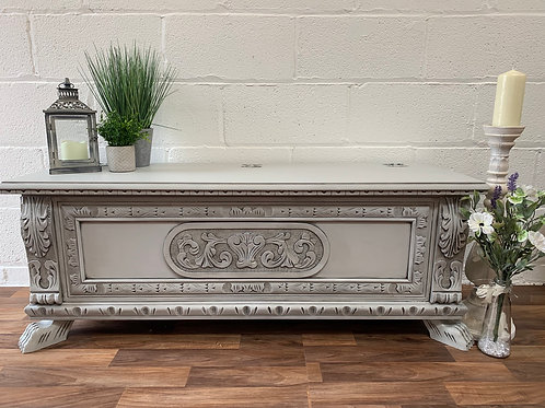 carved grey painted blanket/toy box chest fusion mineral paint sterling