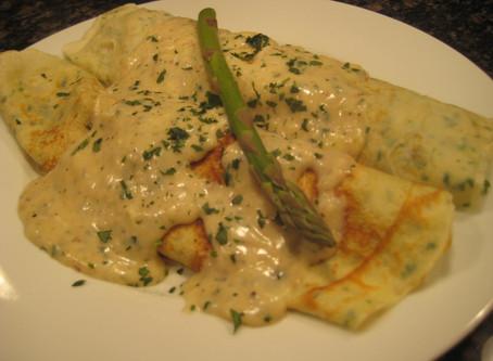 Leek-Asparagus Crepes with Alfredo Sauce