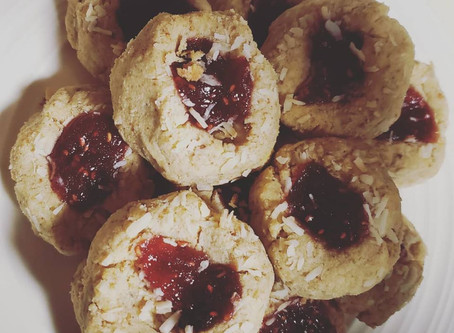Raspberry Coconut Thumbelina Cookies