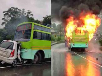 झारखंड में बस और कार की भीषण टक्कर में बिहार के 5 व्यक्ति की जिंदा जलकर मौत।