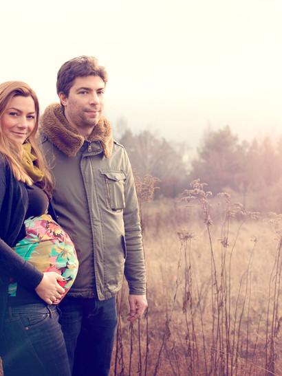Těhotenské zimní portréty