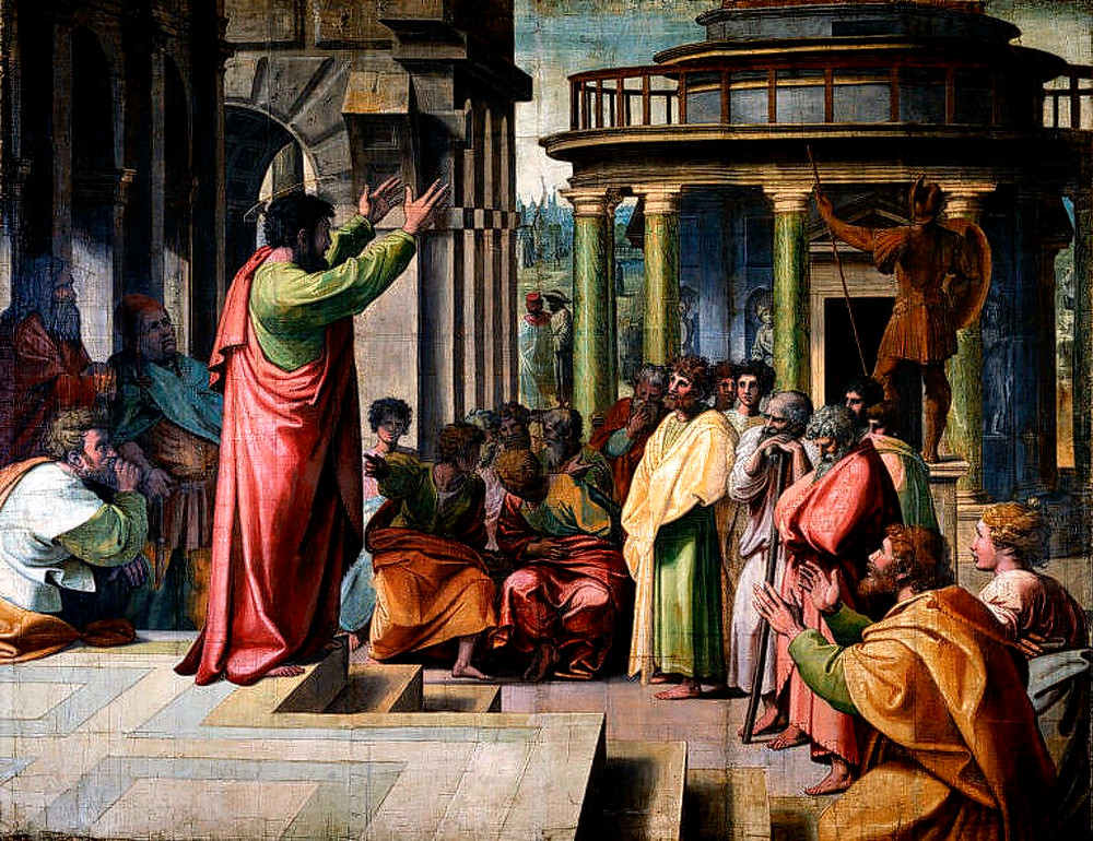 Artist: Raphael, 1515. Source: V&A, on loan from Her Majesty the Queen. Content: St Paul preaching to the Gentiles in Athens (Acts 17: 16-34).