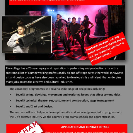 New Creative and Performing Art courses at Lewisham College