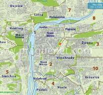 Map showing Prague 7 - Holesovice