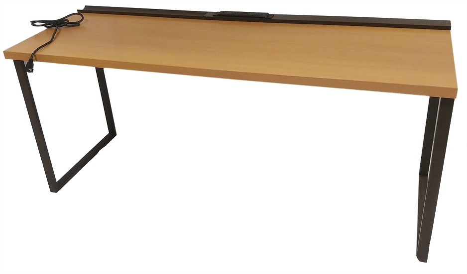 long light wood work table with outlets on top
