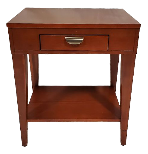 wooden nightstand with one drawer and one shelf front view
