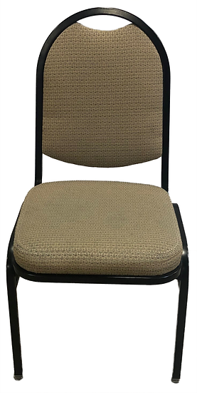 black stack chair with beige cloth seat and back front view