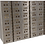 tall metal safety deposit box with many drawers front view