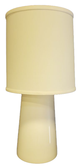 white lamp with thick base front view