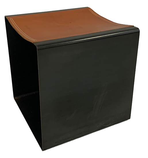 brown and black cube stool side view