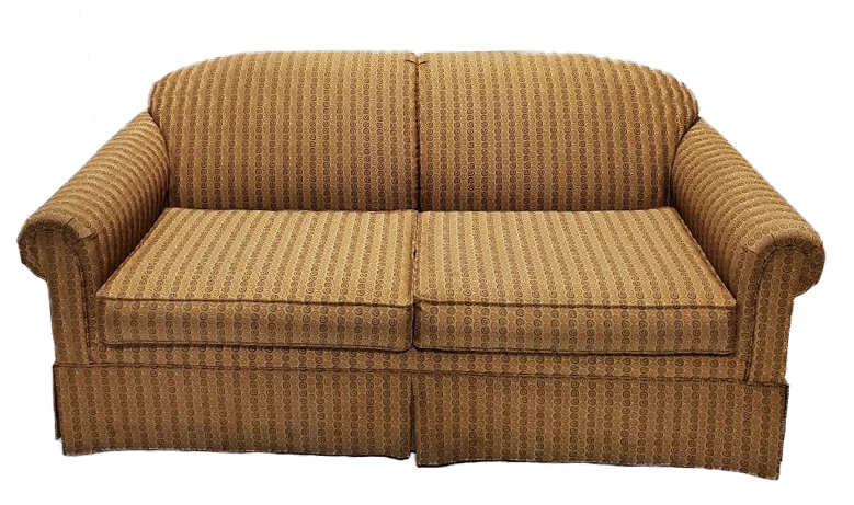 yellow and tan swirl pattern couch front view