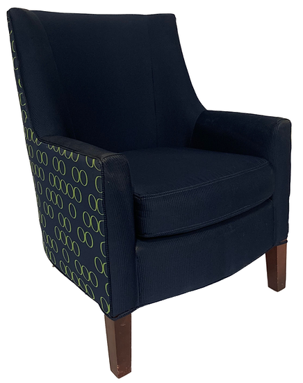 navy blue chair with green circle pattern on back and sides side view