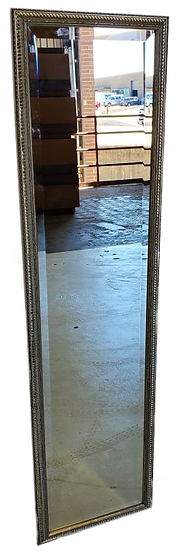 slim full length mirror in silver frame with engraved details front view