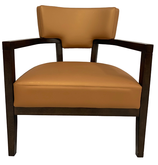 modern style gold chair with brown wooden arms and legs