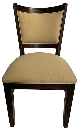 brown wood dining chair with beige seat and legs