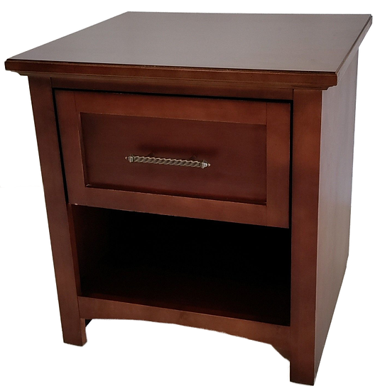 wood nightstand with one drawer and one shelf front view