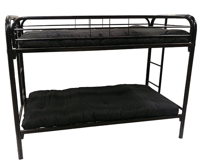 black metal bunk bed with black mattresses side view