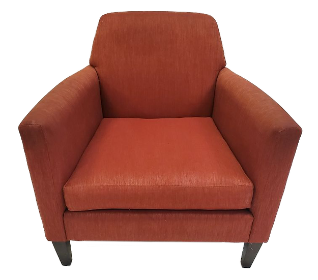 orange armchair with wood legs front view