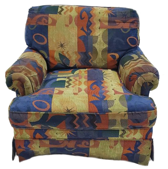 comfort chair with a funky, colorful pattern front view