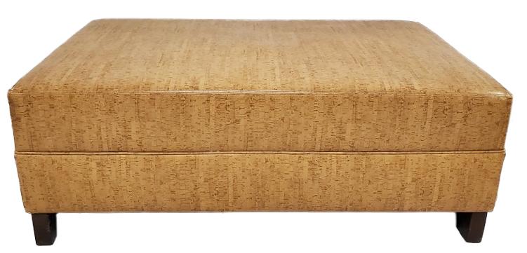 large beige faux leather ottoman