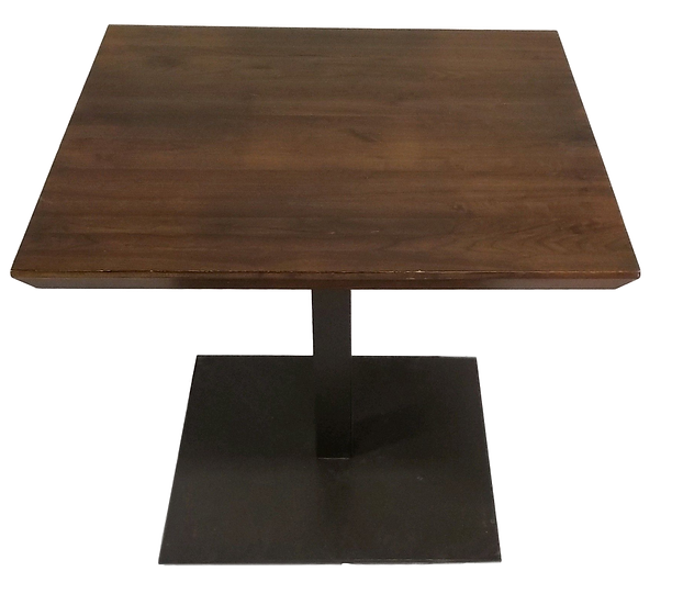 wood square pedestal table with black base