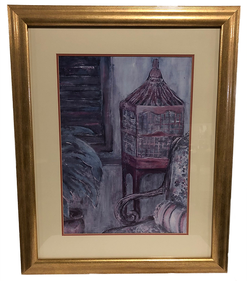 gold framed still life painting of wood window, birdcage, plant, and part of chair in blue and grey tones