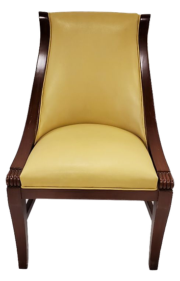 yellow chair with wood trim front view
