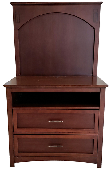 dark wood chest dresser with two drawers and a shelf and a back board