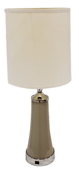 beige lamp with white shade front view