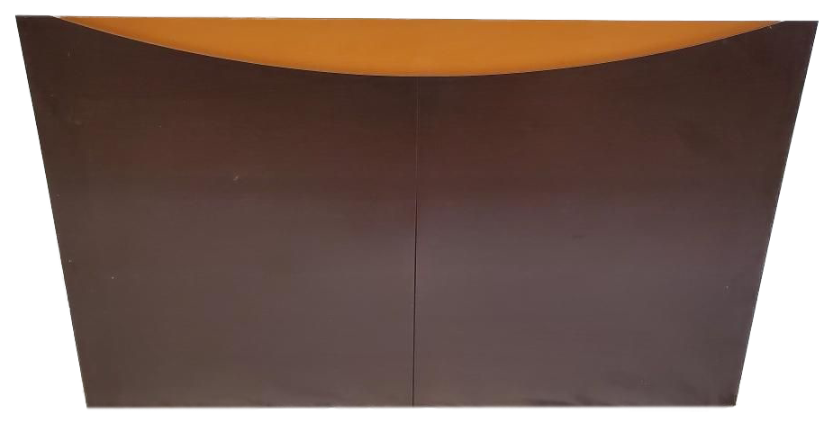 brown headboard with tan stripe on top front view