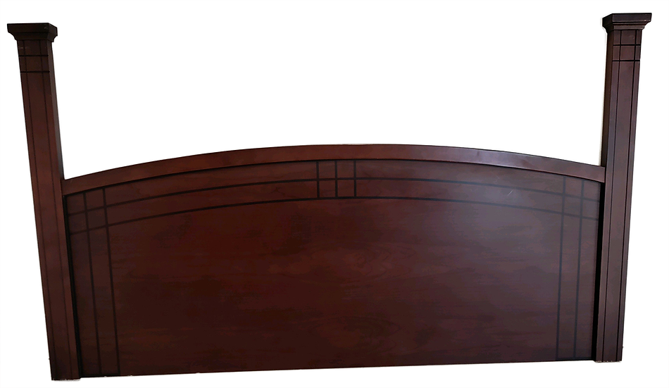 Wood headboard with curved top and posts on each side front view