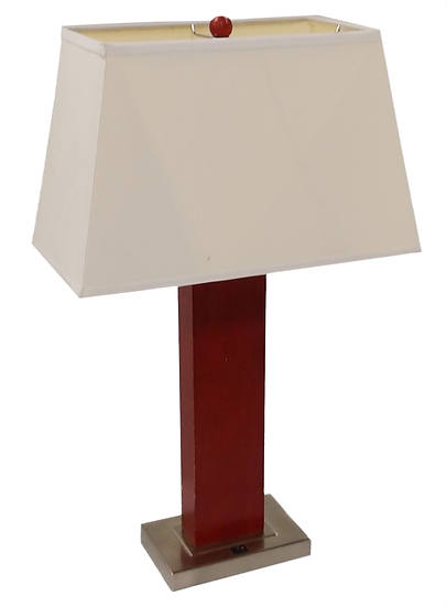 burgundy rectangular table lamp with metal base and white shade front view