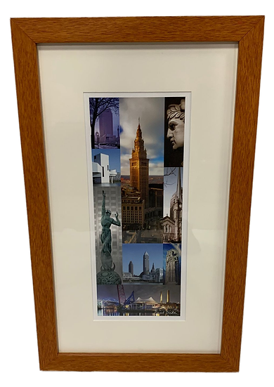 Cleveland montage art in a wooden frame
