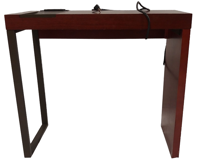 small office desk with outlets on top side view