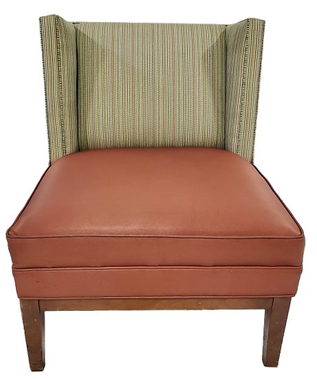 green and brown dining chair front view