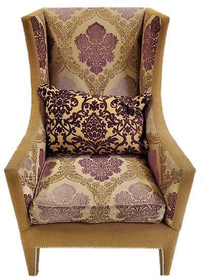 tan, lavender and cream intricate print cloth comfort chair with high back front view