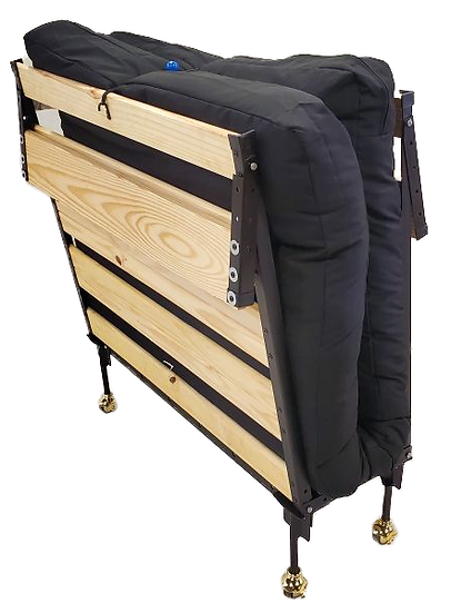 wooden roll-away bed with black mattress folded and standing up