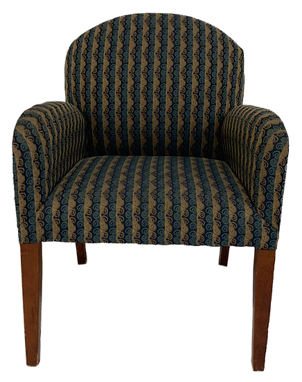 blue and tan swirl pattern chair